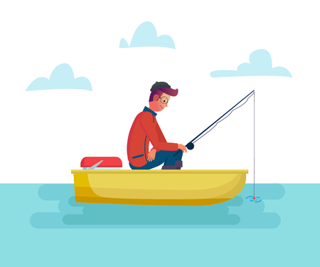Fisher man holding fishing rod in the boat on lake or sea, season fishing. Vector cartoon male illustration.