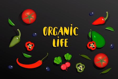Vegetables banner with text Organic life. Vector Vegetables collection of tomato, pepper, chilli, avocado and radish. Organic Food Brand template on black background.