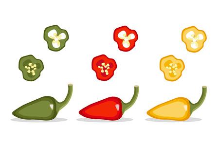 Pepper pod vector illustration Set. Vegetable isolated object full and slices red, green, yellow pepper Ilustração Vetorial