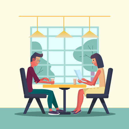 Young man and woman meets in a cafe and drinks coffee. Vector illustration with the interior of a cafe, restaraunt. Cartoon flat style.