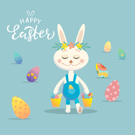 Happy Easter greeting card. Easter Bunny with colorful eggs on background. Vector Design for holiday invitation, banner, card, poster, flyer, logotype