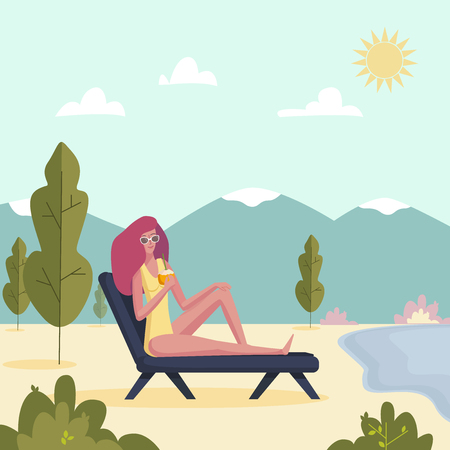 Young woman lying on deckchair with cocktail. Girl enjoying on sunlounger. Vector illustration on summer vacation beach resort.