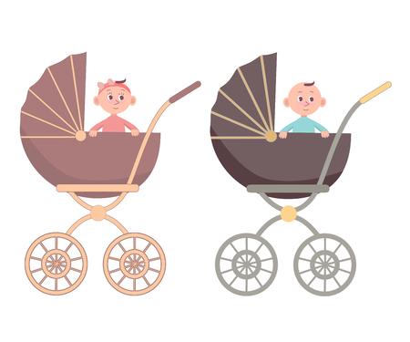 Baby und Junge im Wagen. Isoliert auf weißem Hintergrund. Vektor-Cartoon-Illustration im flachen Stil. Vektorgrafik