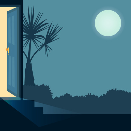 Vector cartoon illustration home outside concept with open entrance door late at night. Background with house garden with bush and palm.