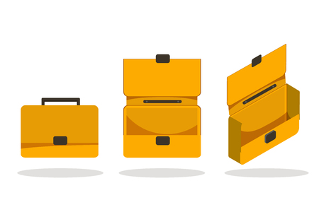 Open and closed briefcase Set on white background. Isolated isometric flat vector illustration.