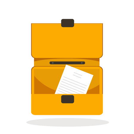 Open briefcase icon with document inside. Isolated vector illustration.
