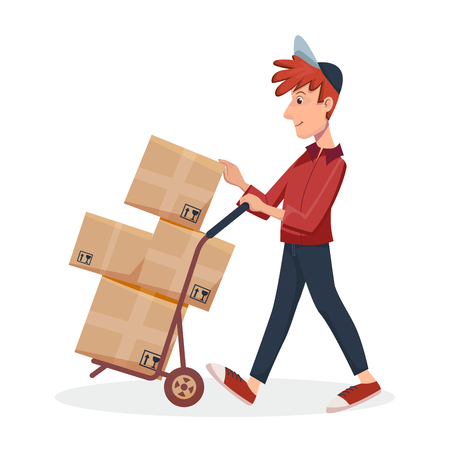 Deliveryman pushing trolley with cardboard boxes. Fast Delivery service by courier. Vector cartoon character illustration.