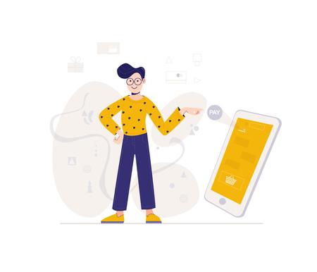 Jeune homme boutique en ligne à l'aide d'un smartphone. Concept d'achat en ligne. Modèle Web. Illustration vectorielle dans la conception des personnages de style plat.