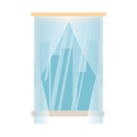 Closed window with wooden frame, glass and curtains. Cityscape view. Isolated Vector illustration.