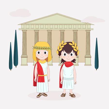 Cartoon character Girl and boy wearing ancient costume. Ancient Rome for children. Vector illustration with Temple and trees on background.