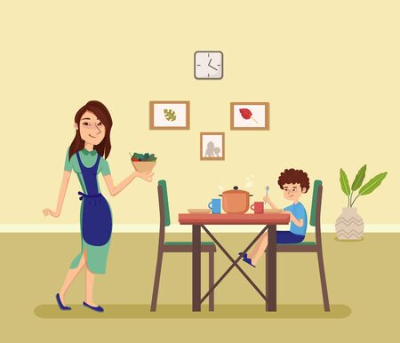 Woman holding plate with food. Boy sitting at the Dinner table in the kitchen. Cartoon style vector illustration. Illustration