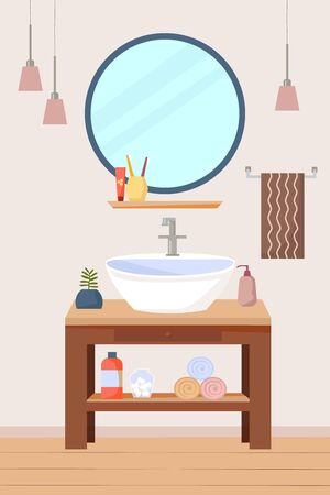 Bathroom interior furniture with sink and wooden shelf, a round mirror, lamps, towels. Flat vector illustration.