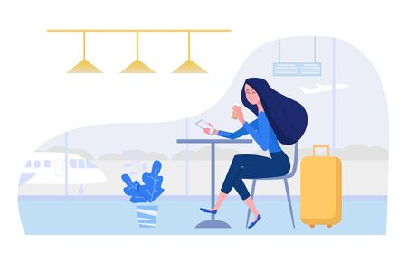Woman at the airport sitting in cafe with suitcase, mobile phone and coffee. Female vector character illustration in flat style.