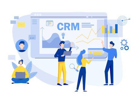 Contexte du concept de gestion de la relation client. Illustration vectorielle de CRM. Planification de la stratégie de l'entreprise. Analyse des données commerciales.
