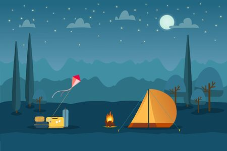 Summer camping tourism landscape background with suitcases, kite, camp tent and bonfire. Night time with moon, stars and clouds on sky. Vector illustration.