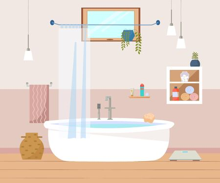 Bathroom interior furniture with bath, lamps, towels, window, white cupboard. Scandinavian style. Flat vector illustration.