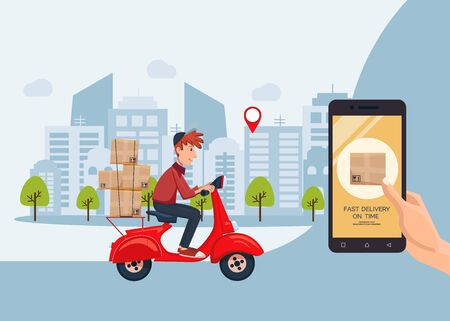 Fast delivery on time service by scooter with courier banner. Mobile application. Hand holding smartphone with online internet order. Flat cartoon vector illustration.