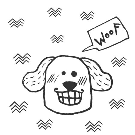 Funny smiling dog head, hand doodle childish print. Perfect for t-shirt, apparel, cards, poster, nursery decoration.