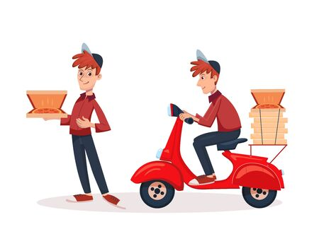 Fast Delivery pizza service by scooter with courier. Vector cartoon man character illustration riding scooter with pizza boxes.