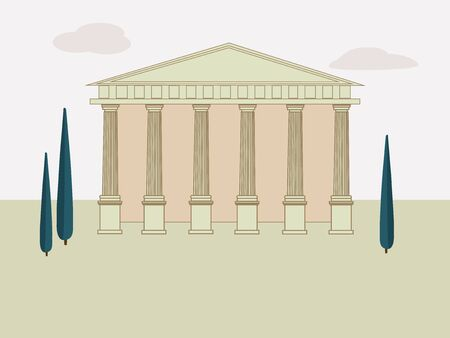 Ancient Rome background with Temple and trees. The building of the Ancient Greek and Roman Temple with columns. Vector illustration.