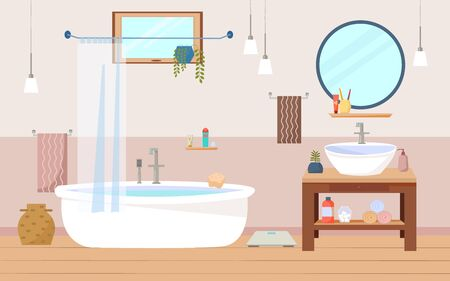 Bathroom interior furniture with bath, sink and wooden cupboard, a round mirror, lamps, towels, window. Flat vector illustration.