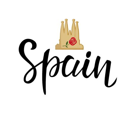 Spain lettering text with Cathedral silhouette, rose. Travel design style template for brochure, invitation card, logo and stickers. Vector illustration.