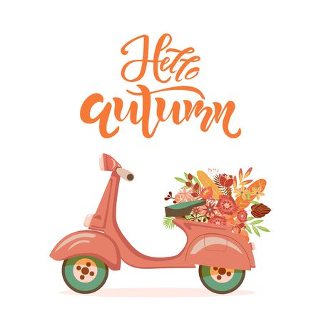 Hello Autumn season quote text. Retro scooter with flower bouquet on background. Lettering typography template for poster, banner, card, print. Vector illustration.