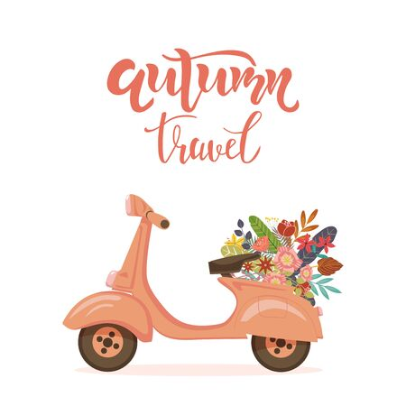 Autumn travel motivational quote, greeting card with scooter and flowers. Lettering typography template for poster, banner, print. Vector illustration. Illustration