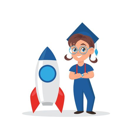 Cute little girl in graduation cap. Schoolgirl standing with rocket. Illustration Mascot for school, education and development center. Illustration