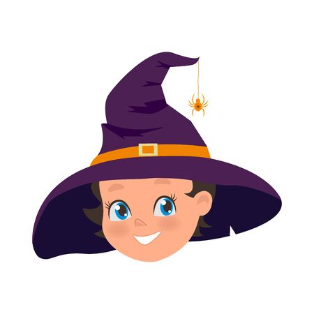 Happy Young girl in old hat and spider on hat. Halloween holiday costume of little witch. Portrait of smiling female cartoon character illustration. Illustration