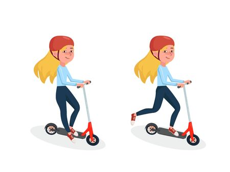 Young Girl riding two-wheeled electric scooter. Female character in different poses. Vector Isolated cartoon illustration.