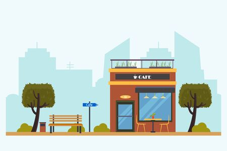Outdoor Cafe on city background. Street Cafe with urban landscape. Coffeeshop with table and chairs. Flat design concept.