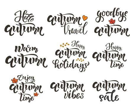 Autumn time lettering SET. Season quote, text. Typography Design for card, poster, placard
