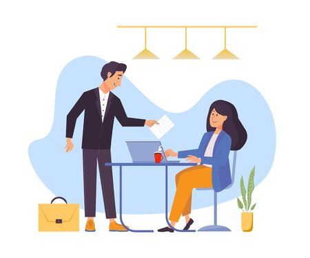 Office workplace. Business concept of vector characters in flat style. Woman with laptop sitting at the table. Man with document and briefcase.