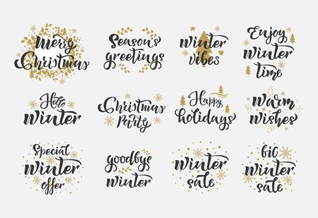 Merry Christmas quotes Set. Winter Holiday text. Calligraphy, lettering design. Typography for postcards, posters, banners. Vector illustration Illustration