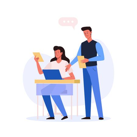 Office workplace. Woman sitting at the table with laptop and man with document. Business concept of vector characters in flat style Illustration