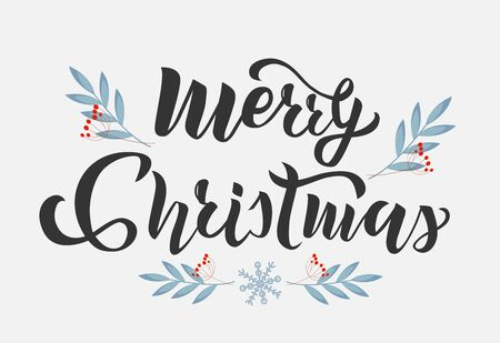 Merry Christmas lettering. Calligraphy, typography text for greeting card, postcard, banner. Isolated vector illustration