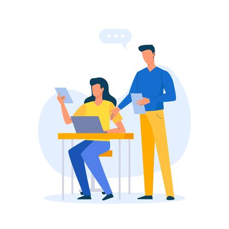 Office workplace. Woman sit at the table with laptop and man stand with document. Business concept of vector characters in flat style