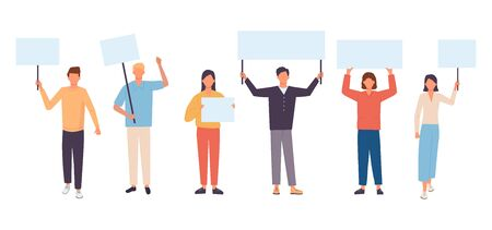 Young protesting people holding banners and placards. Male and female activists. Flat cartoon vector illustration.