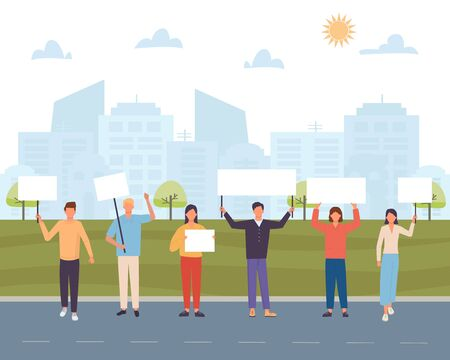 Protest people with placard on the city background. Crowd protesting people on demonstration. Flat vector illustration.