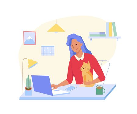Young woman working at home with cat at his laptop. Home Office interior. Freelancer woman concept. Vector illustration in flat style