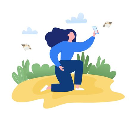 Woman sitting on the lawn in the park and makes a photo of the birds by mobile phone. Spring modern flat vector concept illustration