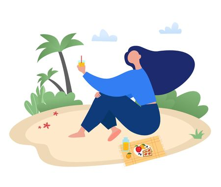 Woman sitting on the beach with glass of juice. Picnic, rest, holiday concept flat vector illustration.