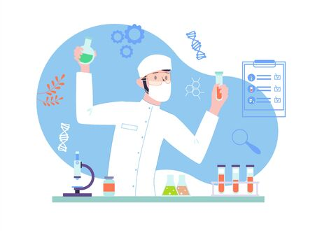 Male Scientist doing a medical research at the laboratory. Biochemical analysis with science equipment. Illustration