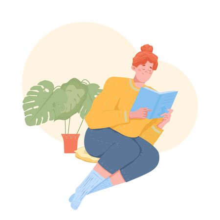 Young girl reading a book in home interior with house plants. Vector cartoon illustration.