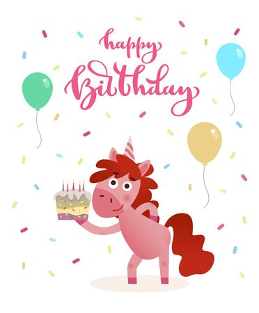 Happy birthday greeting card decorated with festive balloons and confetti. Cute and funny Unicorn holding cake with burning candles Illustration