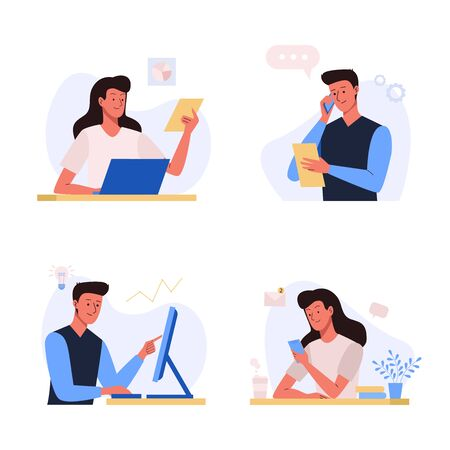 Office business people illustration in flat design. Office workplace. Woman and man sitting at the table with laptop, documents and talking by phone