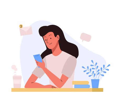 Woman sitting at the table with phone. Office workplace. Vector illustration in flat design. Illustration