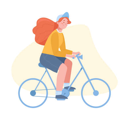 Happy girl riding a bicycle vector illustration Illustration