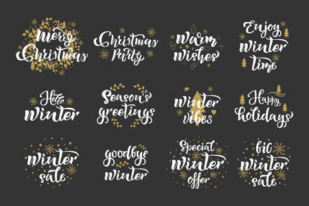 Winter Christmas Set. Holiday quotes, lettering design